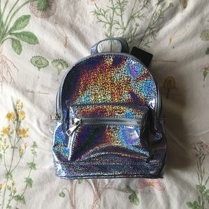 Baby blue holographic Forever 21 mini backpack!